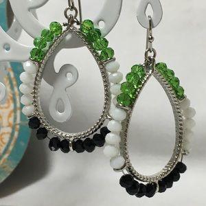 Charming Charlie's Kelly green Navy earrings